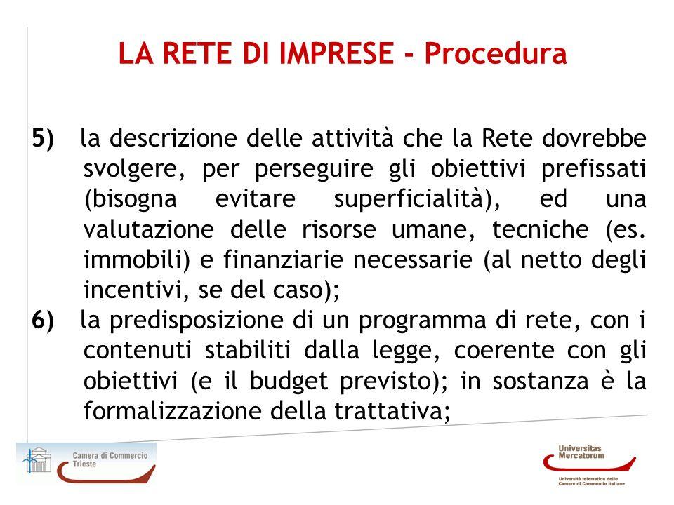LA RETE DI IMPRESE - Procedura 5) la descrizione delle attività che la Rete dovrebbe svolgere, per perseguire gli obiettivi prefissati (bisogna evitar