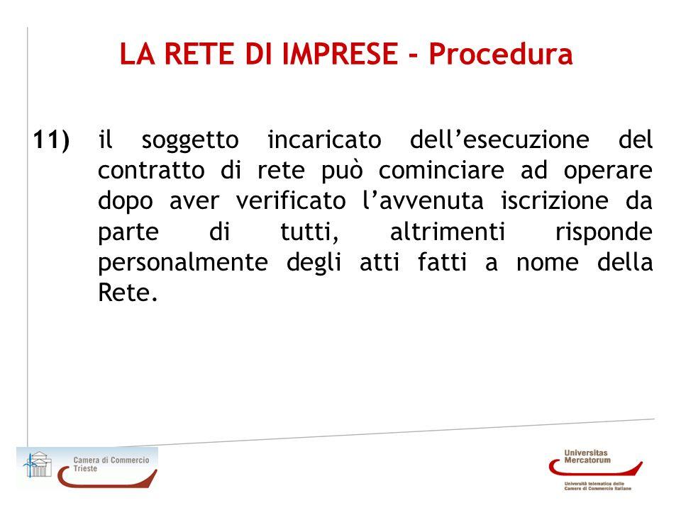 LA RETE DI IMPRESE - Procedura 11) il soggetto incaricato dellesecuzione del contratto di rete può cominciare ad operare dopo aver verificato lavvenut