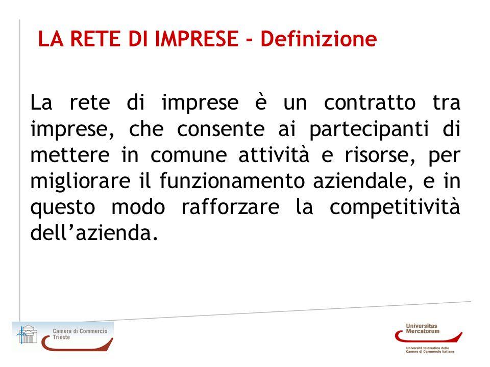 LA RETE DI IMPRESE - Definizione La rete di imprese è un contratto tra imprese, che consente ai partecipanti di mettere in comune attività e risorse,