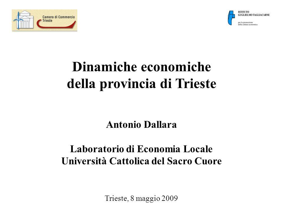 Dinamiche economiche della provincia di Trieste Antonio Dallara Laboratorio di Economia Locale Università Cattolica del Sacro Cuore Trieste, 8 maggio 2009