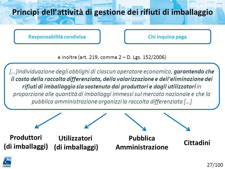 Principi dellattività di gestione dei rifiuti di imballaggio Responsabilità condivisaChi inquina paga e inoltre (art. 219, comma 2 – D. Lgs. 152/2006)
