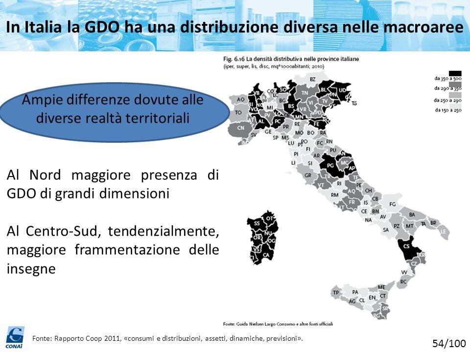 In Italia la GDO ha una distribuzione diversa nelle macroaree Ampie differenze dovute alle diverse realtà territoriali Al Nord maggiore presenza di GD