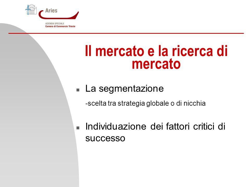 Il mercato e la ricerca di mercato n La segmentazione -scelta tra strategia globale o di nicchia n Individuazione dei fattori critici di successo