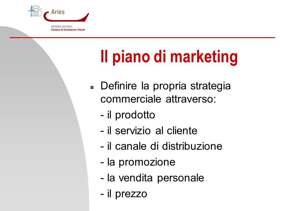 Il piano di marketing n Definire la propria strategia commerciale attraverso: - il prodotto - il servizio al cliente - il canale di distribuzione - la