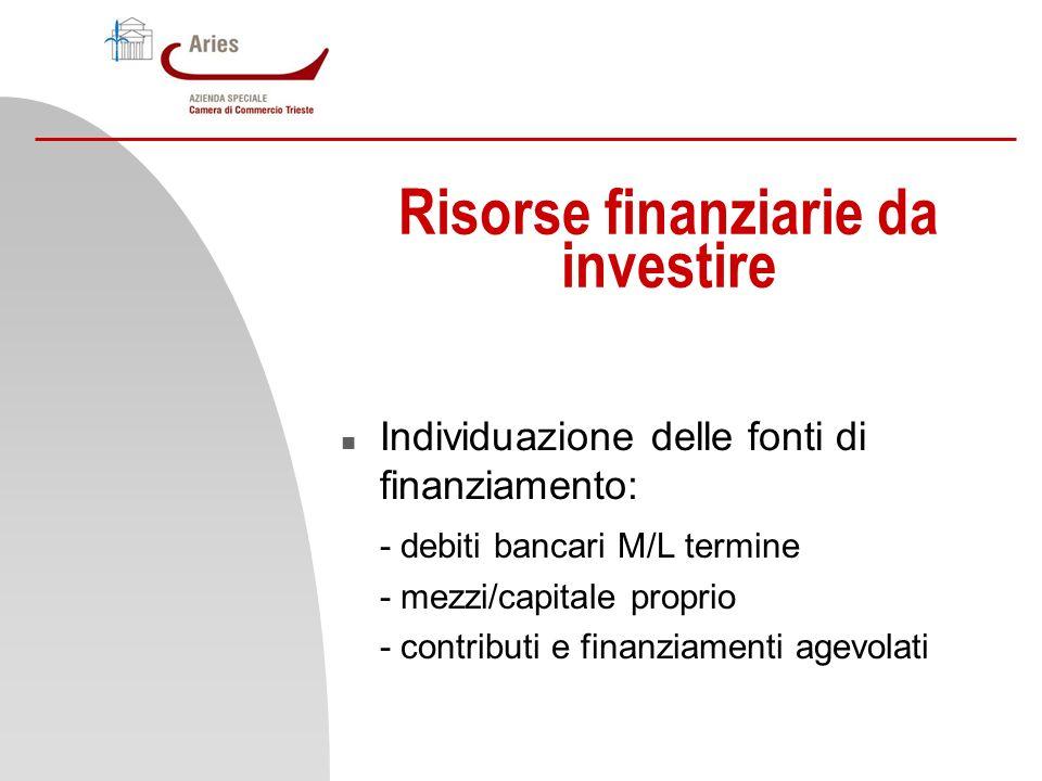 Risorse finanziarie da investire n Individuazione delle fonti di finanziamento: - debiti bancari M/L termine - mezzi/capitale proprio - contributi e f