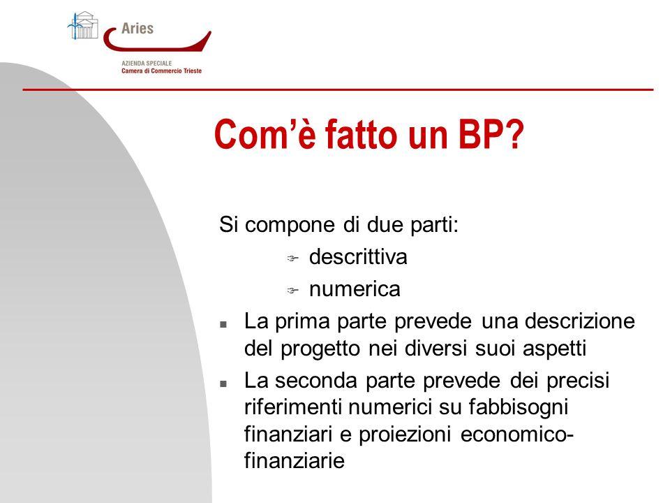 Comè fatto un BP? Si compone di due parti: F descrittiva F numerica n La prima parte prevede una descrizione del progetto nei diversi suoi aspetti n L
