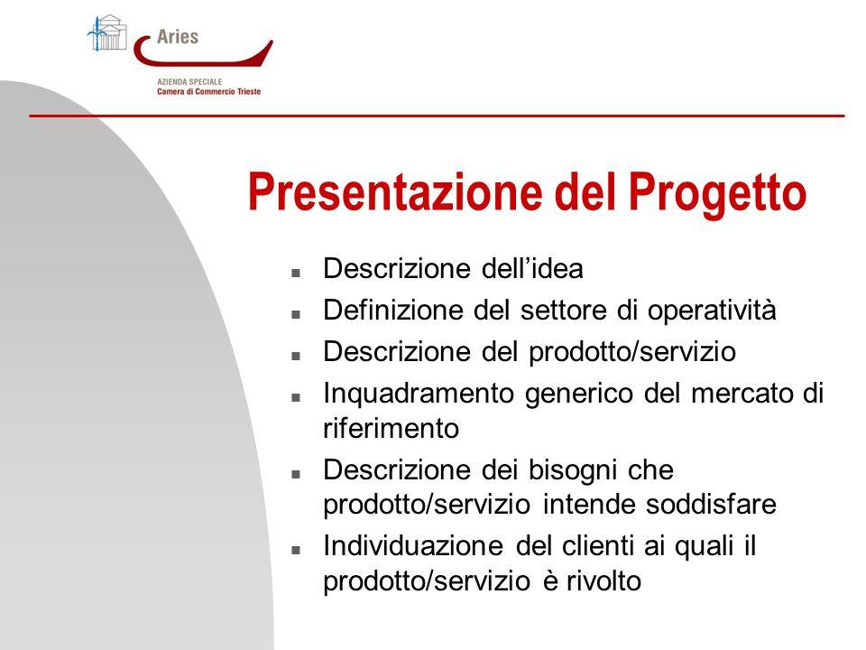Presentazione del Progetto n Descrizione dellidea n Definizione del settore di operatività n Descrizione del prodotto/servizio n Inquadramento generic