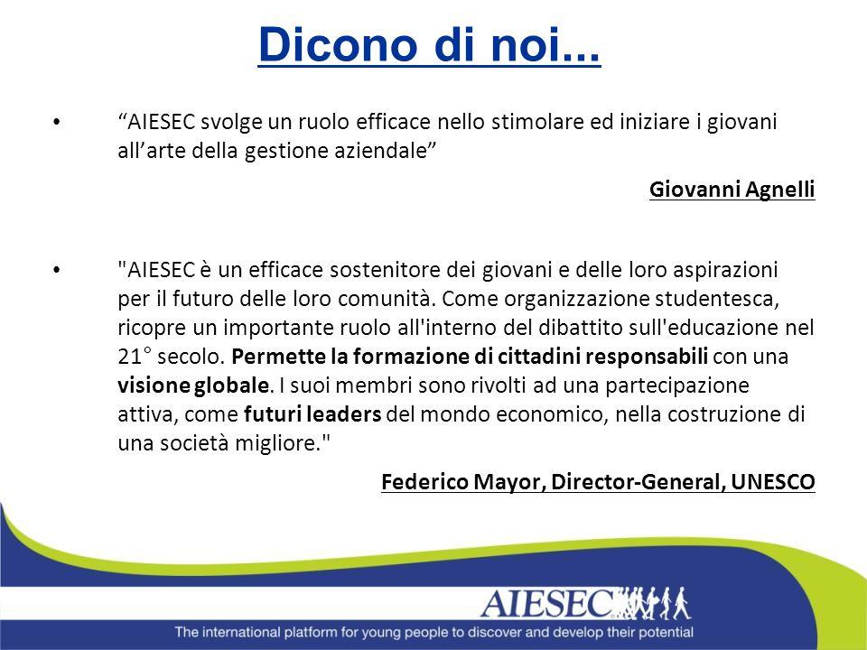 Dicono di noi... AIESEC svolge un ruolo efficace nello stimolare ed iniziare i giovani allarte della gestione aziendale Giovanni Agnelli