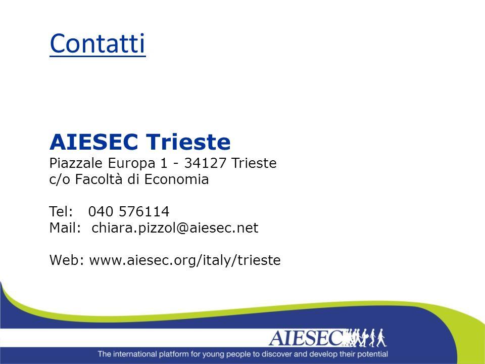 Contatti AIESEC Trieste Piazzale Europa 1 - 34127 Trieste c/o Facoltà di Economia Tel: 040 576114 Mail: chiara.pizzol@aiesec.net Web: www.aiesec.org/i