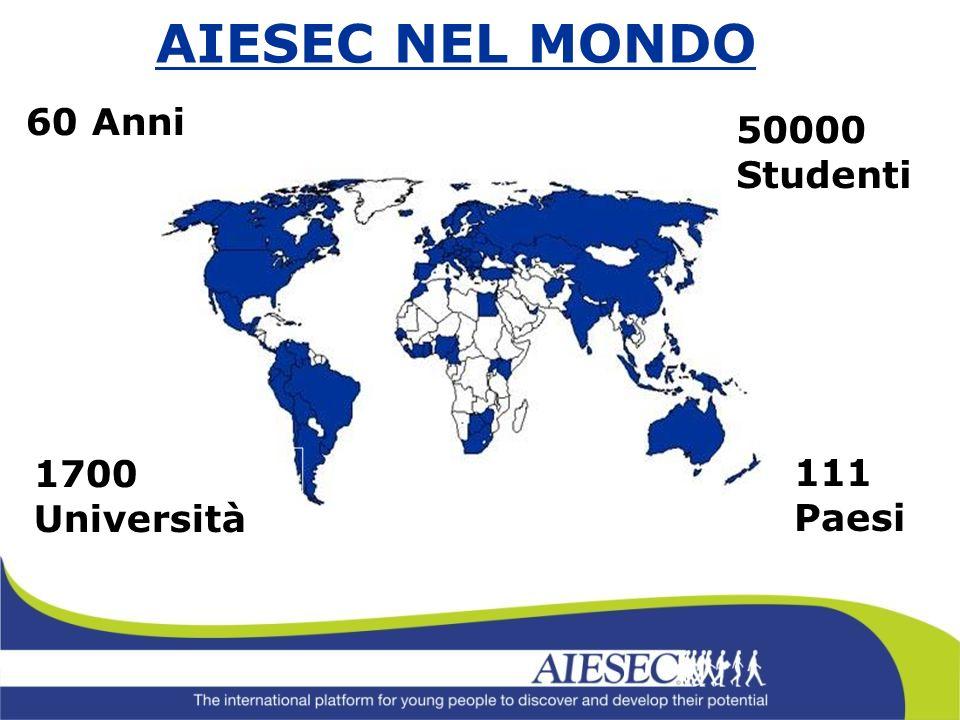111 Paesi 1700 Università AIESEC NEL MONDO 50000 Studenti 60 Anni