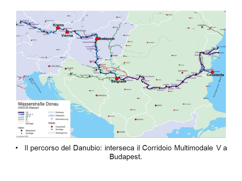 Il percorso del Danubio: interseca il Corridoio Multimodale V a Budapest.
