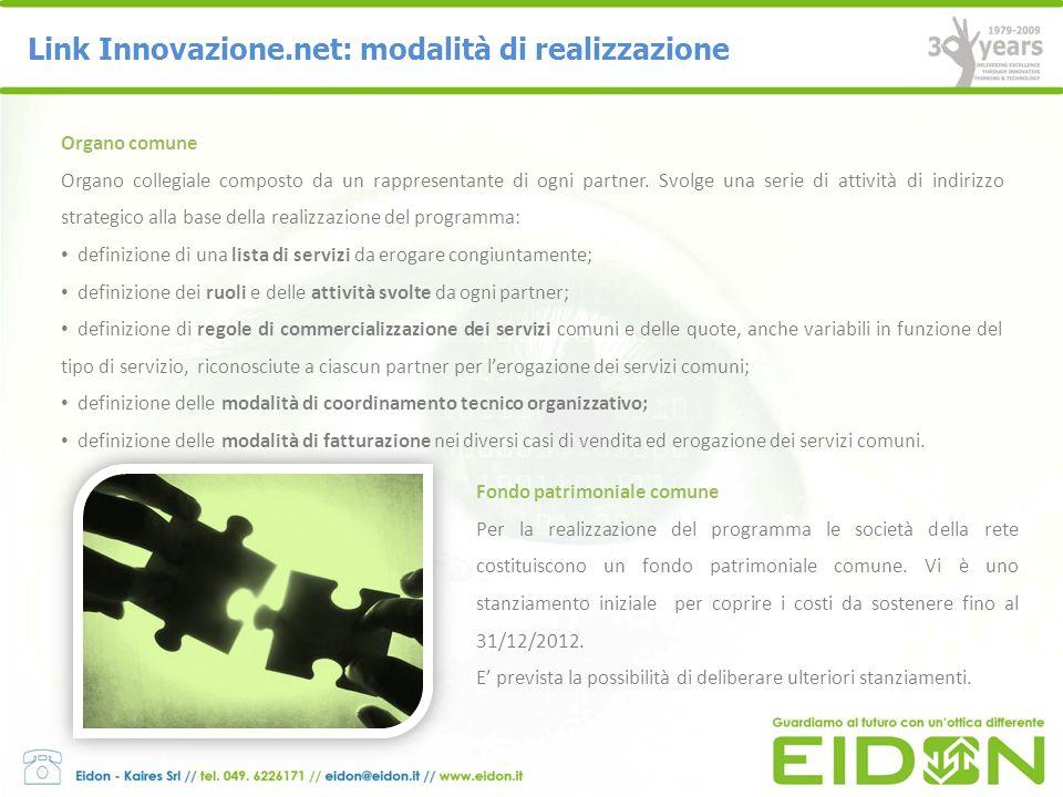 Link Innovazione.net: il ruolo e contributo di Eidon Eidon-Kaires si occupa della creazione dellarchitettura informatica e del sistema informatico di gestione dei partner, della gestione della piattaforma e risoluzione delle problematiche di natura tecnica ed informatica.