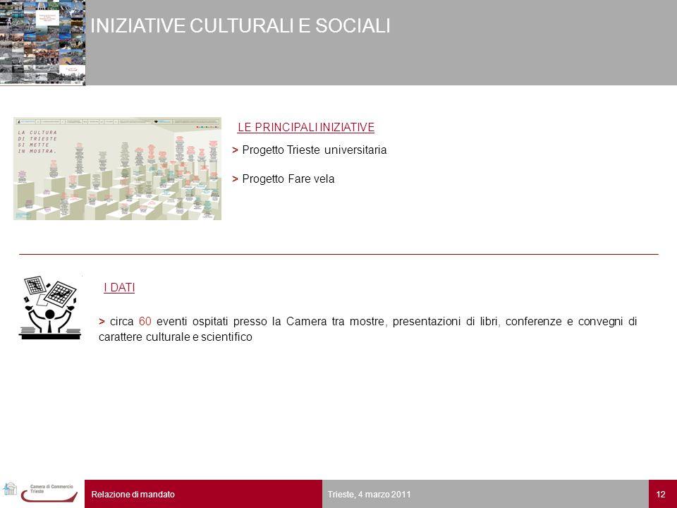 12Relazione di mandato Trieste, 4 marzo 2011 INIZIATIVE CULTURALI E SOCIALI > circa 60 eventi ospitati presso la Camera tra mostre, presentazioni di l