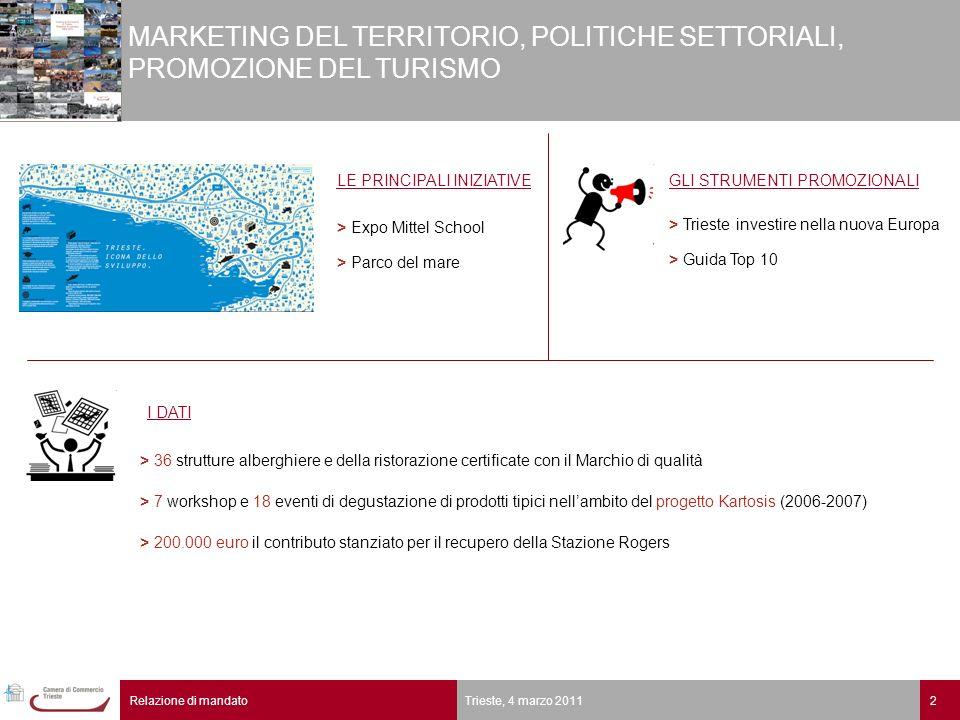 2Relazione di mandato Trieste, 4 marzo 2011 MARKETING DEL TERRITORIO, POLITICHE SETTORIALI, PROMOZIONE DEL TURISMO I DATI LE PRINCIPALI INIZIATIVE > E