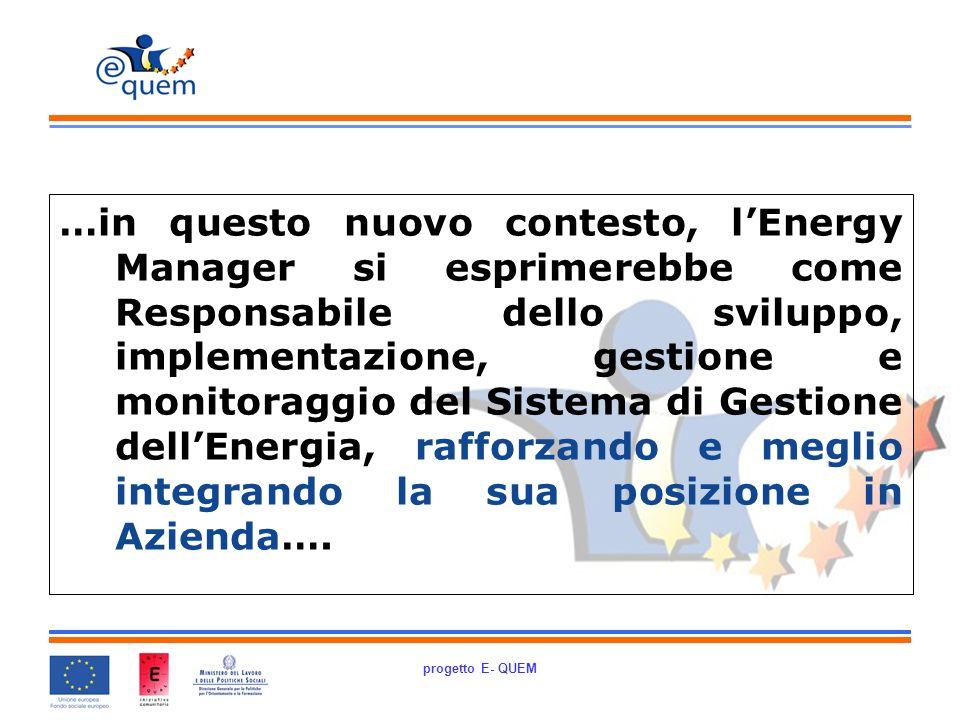 progetto E- QUEM …in questo nuovo contesto, lEnergy Manager si esprimerebbe come Responsabile dello sviluppo, implementazione, gestione e monitoraggio del Sistema di Gestione dellEnergia, rafforzando e meglio integrando la sua posizione in Azienda….