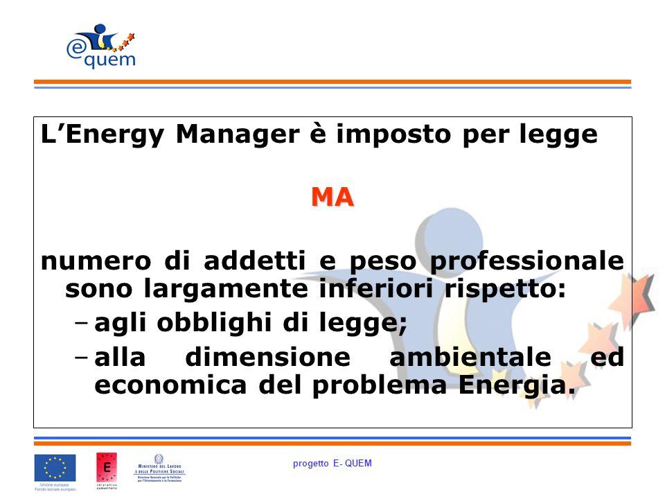 progetto E- QUEM LEnergy Manager è imposto per leggeMA numero di addetti e peso professionale sono largamente inferiori rispetto: –agli obblighi di legge; –alla dimensione ambientale ed economica del problema Energia.