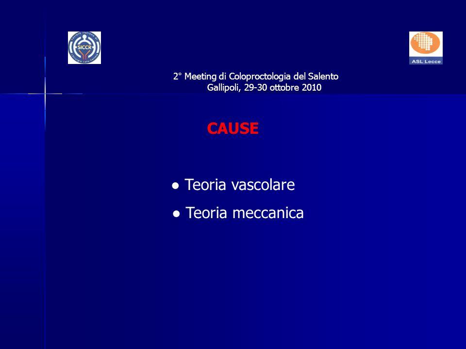 CAUSE Teoria vascolare Teoria meccanica 2° Meeting di Coloproctologia del Salento Gallipoli, 29-30 ottobre 2010