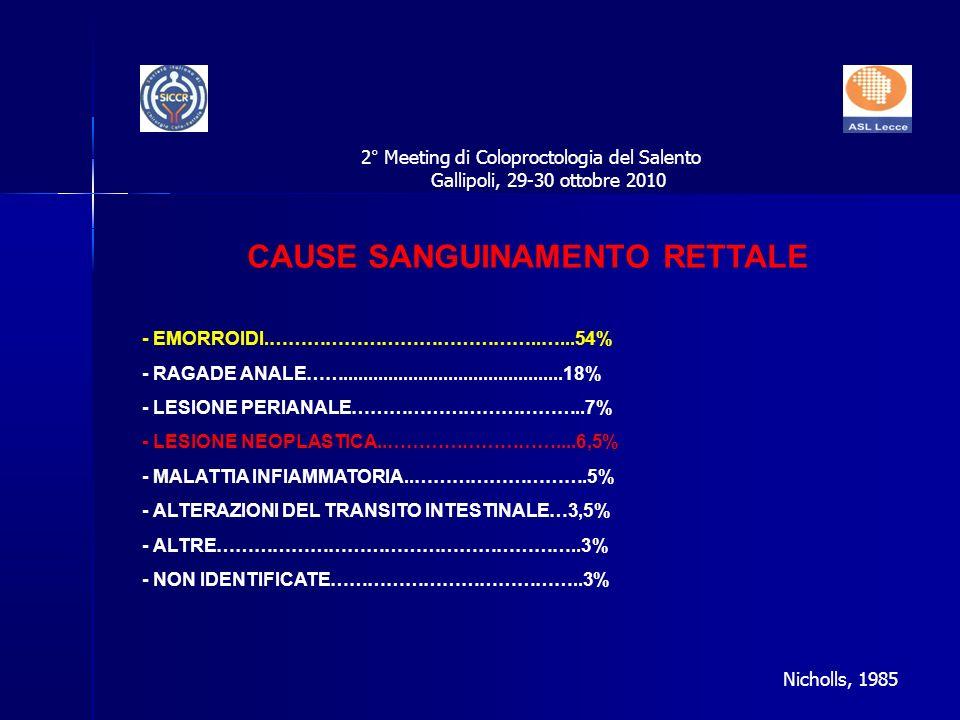 CAUSE SANGUINAMENTO RETTALE - EMORROIDI.……………………………………..…...54% - RAGADE ANALE……............................................18% - LESIONE PERIANALE………