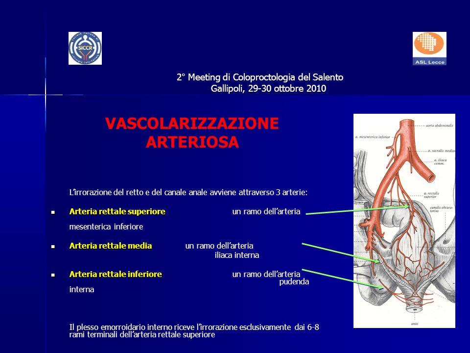 VASCOLARIZZAZIONE ARTERIOSA Lirrorazione del retto e del canale anale avviene attraverso 3 arterie: Arteria rettale superiore Arteria rettale superior