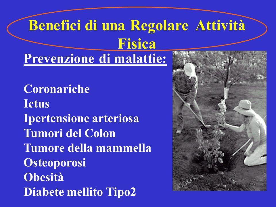 Benefici di una Regolare Attività Fisica Prevenzione della disabilità: Artrosi Disturbi circolatori arti inf.