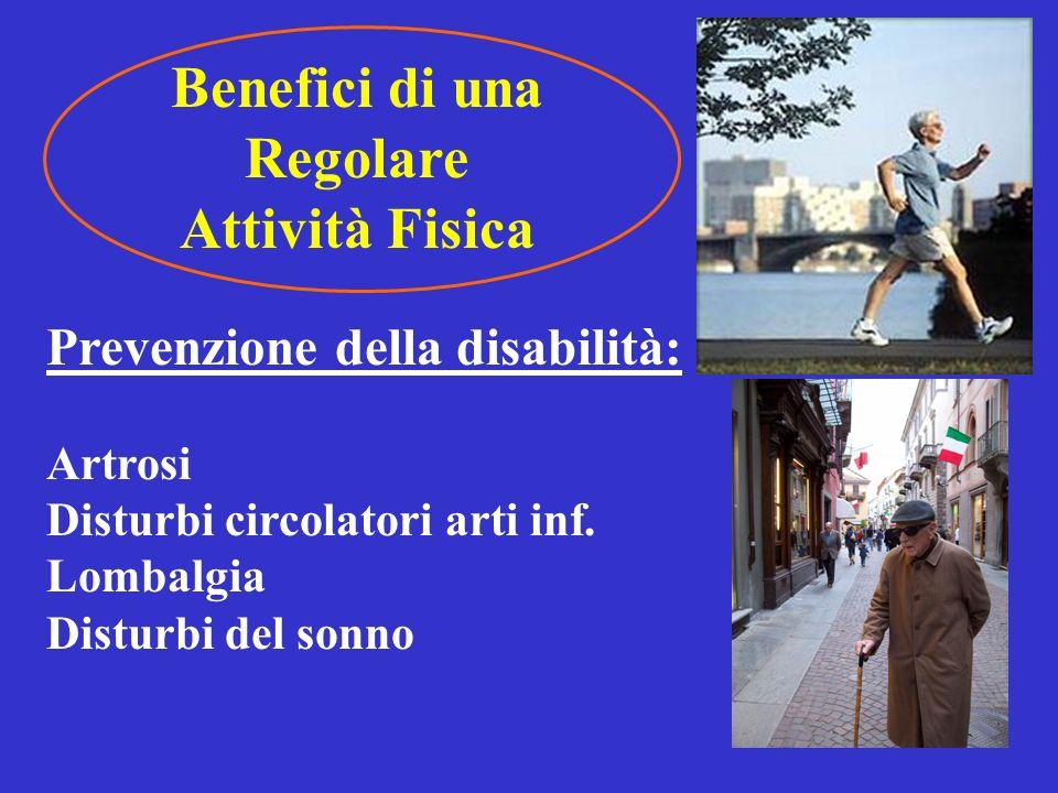 Benefici di una Regolare Attività Fisica Prevenzione della dipendenza e dellisolamento: Abilità funzionale Cadute Autonomia Socializzazione