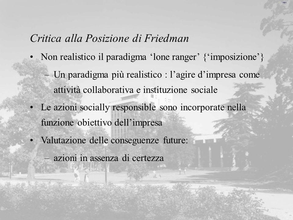 m&m Critica alla Posizione di Friedman Non realistico il paradigma lone ranger {imposizione} –Un paradigma più realistico : lagire dimpresa come attiv