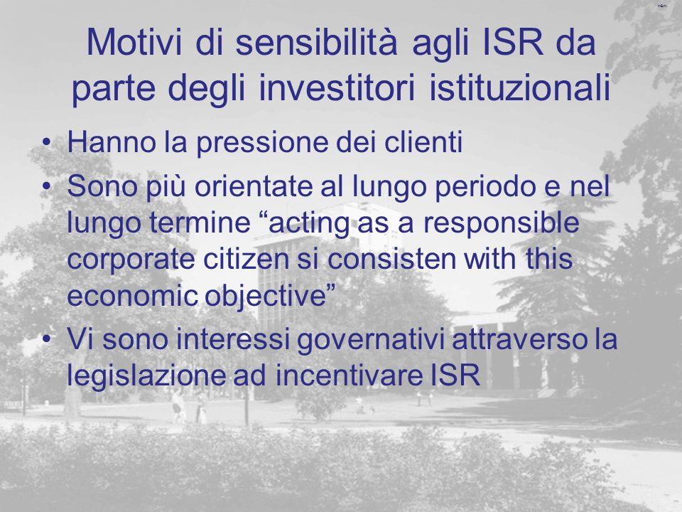 m&m Motivi di sensibilità agli ISR da parte degli investitori istituzionali Hanno la pressione dei clienti Sono più orientate al lungo periodo e nel l