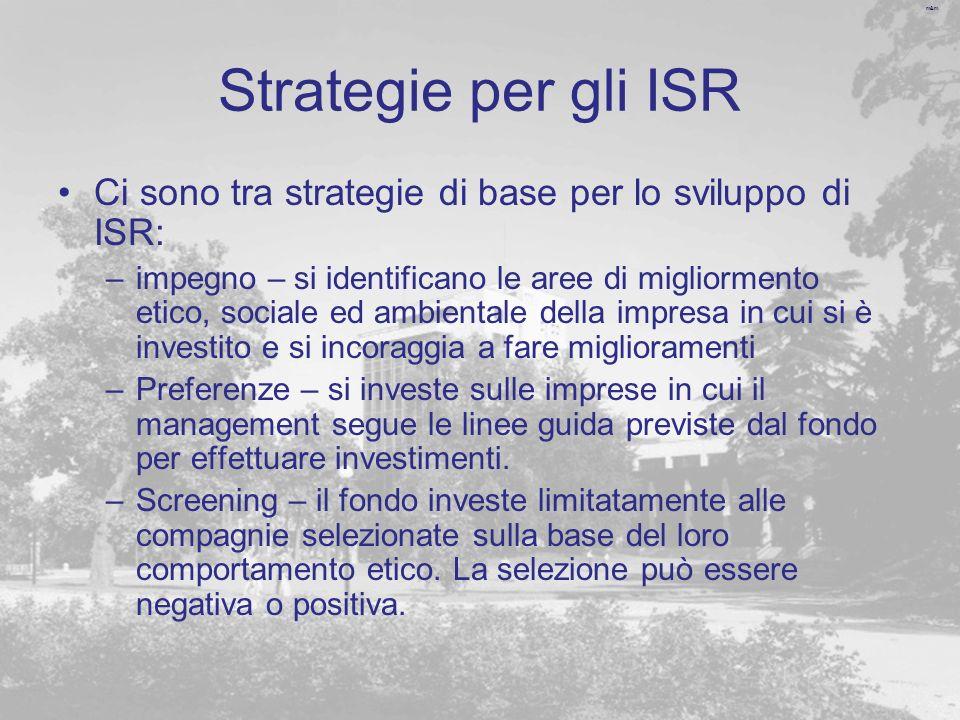 m&m Strategie per gli ISR Ci sono tra strategie di base per lo sviluppo di ISR: –impegno – si identificano le aree di migliormento etico, sociale ed a