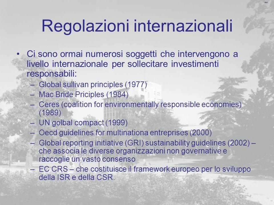 m&m Regolazioni internazionali Ci sono ormai numerosi soggetti che intervengono a livello internazionale per sollecitare investimenti responsabili: –G