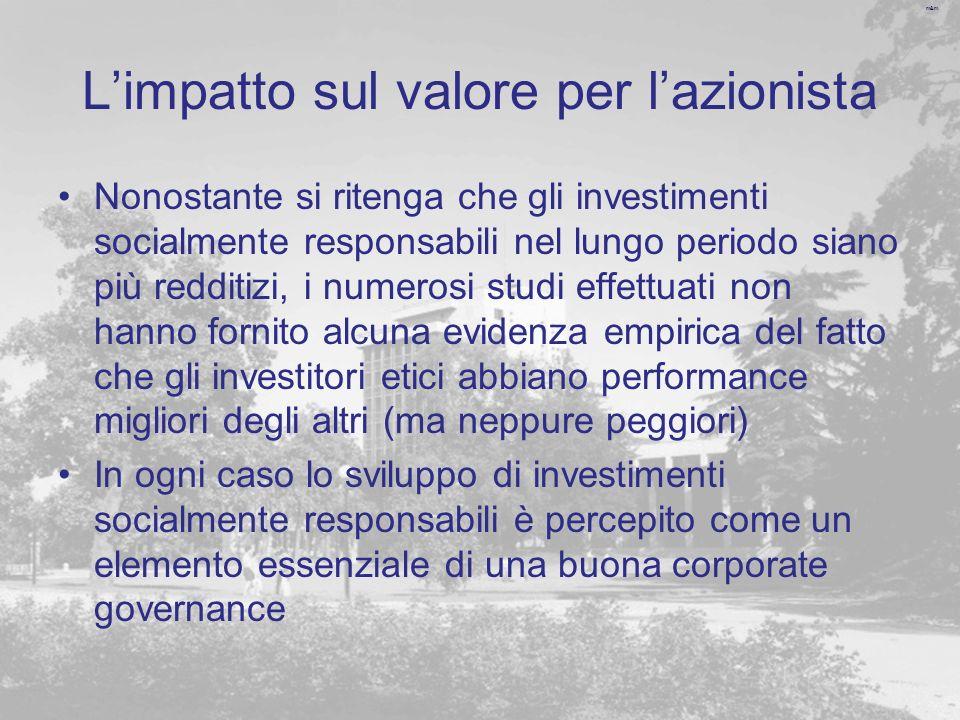 m&m Limpatto sul valore per lazionista Nonostante si ritenga che gli investimenti socialmente responsabili nel lungo periodo siano più redditizi, i nu