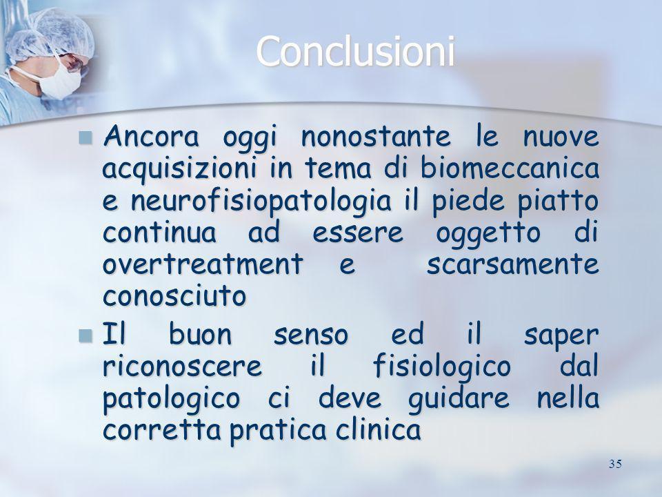 35 Conclusioni Ancora oggi nonostante le nuove acquisizioni in tema di biomeccanica e neurofisiopatologia il piede piatto continua ad essere oggetto d