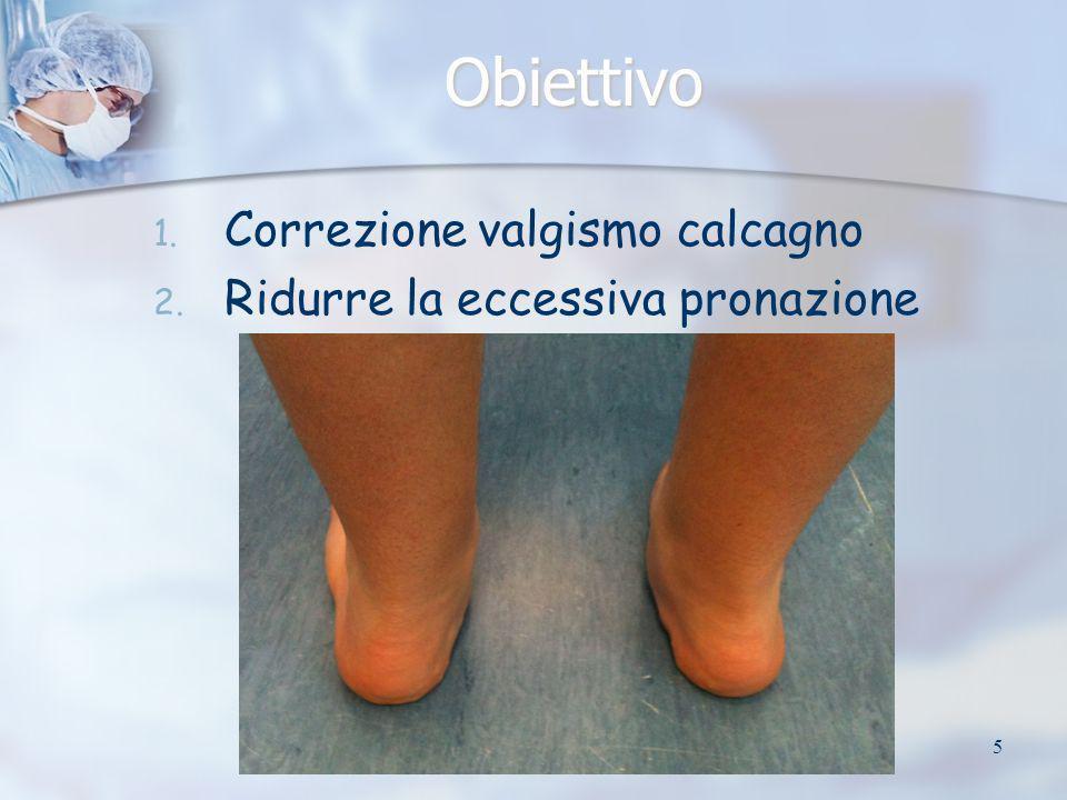 5 Obiettivo 1. 1. Correzione valgismo calcagno 2. 2. Ridurre la eccessiva pronazione