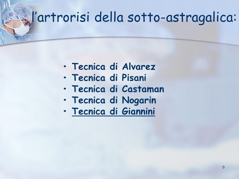 6 Tecnica di Alvarez Tecnica di Pisani Tecnica di Castaman Tecnica di Nogarin Tecnica di Giannini lartrorisi della sotto-astragalica: