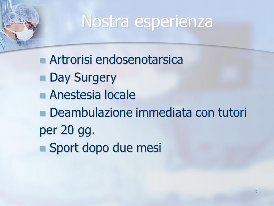 7 Nostra esperienza Artrorisi endosenotarsica Artrorisi endosenotarsica Day Surgery Day Surgery Anestesia locale Anestesia locale Deambulazione immedi