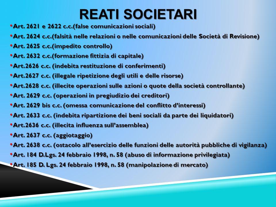Art. 2621 e 2622 c.c.(false comunicazioni sociali) Art. 2621 e 2622 c.c.(false comunicazioni sociali) Art. 2624 c.c.(falsità nelle relazioni o nelle c