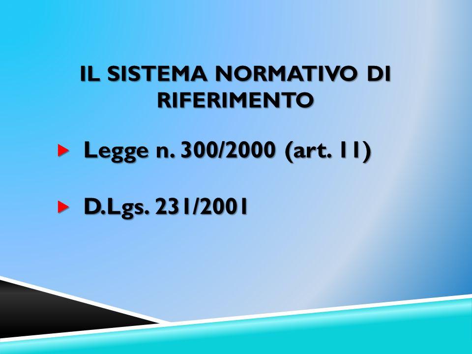 IL SISTEMA NORMATIVO DI RIFERIMENTO Legge n. 300/2000 (art. 11) Legge n. 300/2000 (art. 11) D.Lgs. 231/2001 D.Lgs. 231/2001