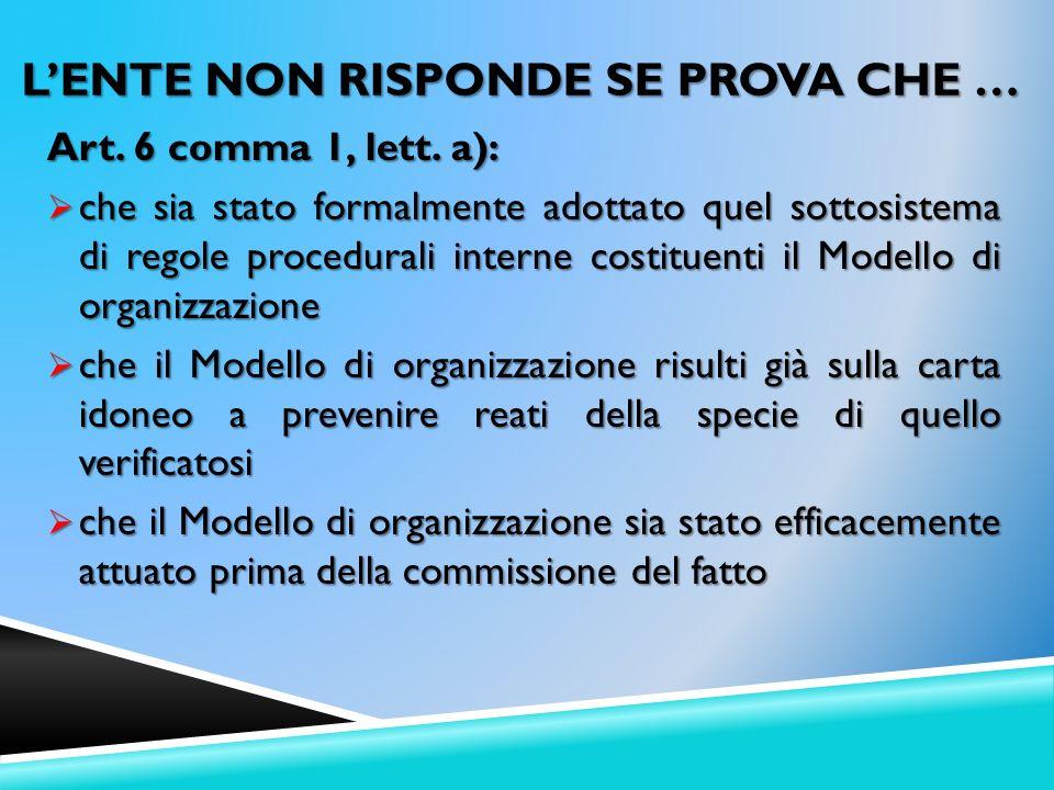 Art. 6 comma 1, lett. a): che sia stato formalmente adottato quel sottosistema di regole procedurali interne costituenti il Modello di organizzazione
