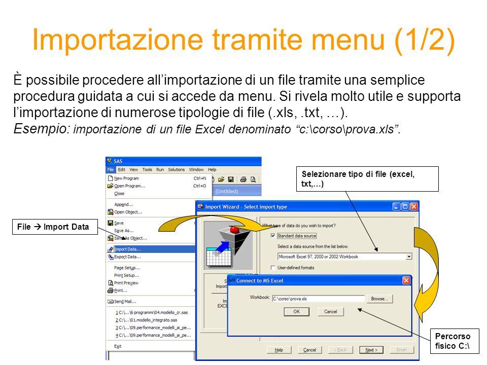 Importazione tramite menu (1/2) È possibile procedere allimportazione di un file tramite una semplice procedura guidata a cui si accede da menu.