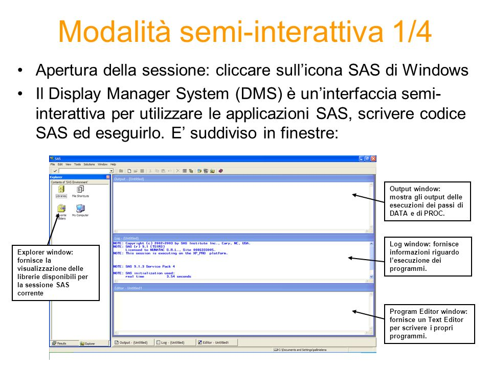 Le finestre –PROGRAM EDITOR digitazione di programmi e dati, utilizza aiuti visuali come sezioni di codici a colori per aiutare a scrivere i programmi SAS.