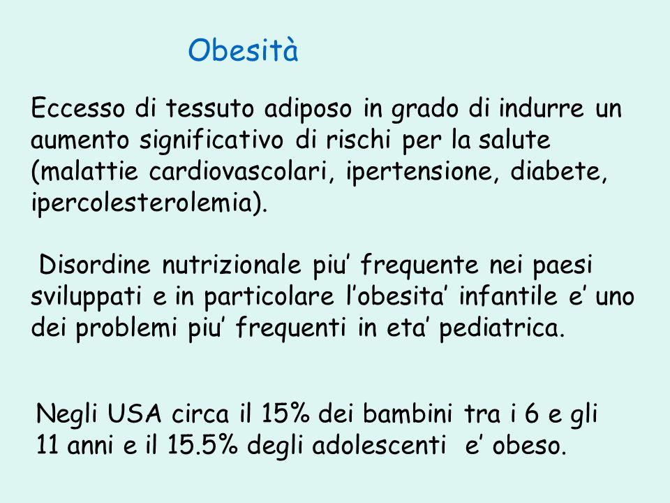 Eccesso di tessuto adiposo in grado di indurre un aumento significativo di rischi per la salute (malattie cardiovascolari, ipertensione, diabete, iper