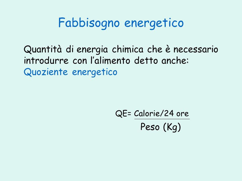 Fabbisogno energetico Quantità di energia chimica che è necessario introdurre con lalimento detto anche: Quoziente energetico QE= Calorie/24 ore Peso