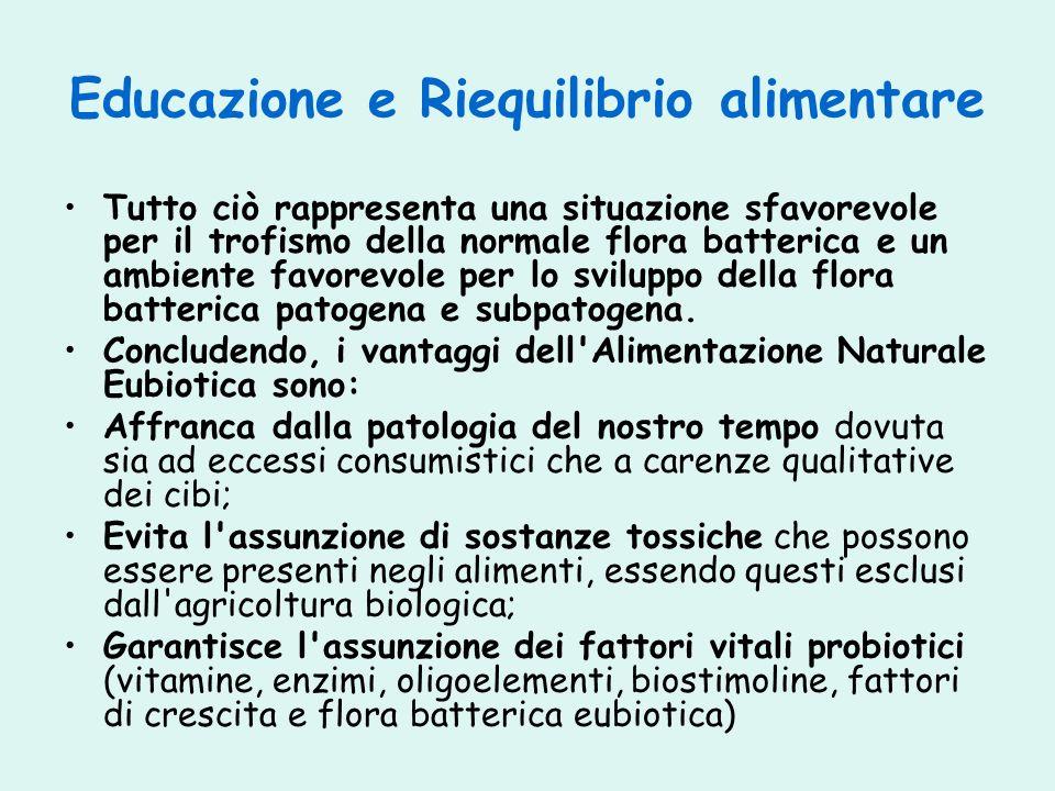 Educazione e Riequilibrio alimentare Tutto ciò rappresenta una situazione sfavorevole per il trofismo della normale flora batterica e un ambiente favo