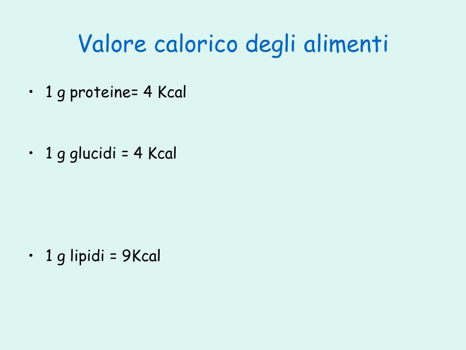 Valore calorico degli alimenti 1 g proteine= 4 Kcal 1 g glucidi = 4 Kcal 1 g lipidi = 9Kcal