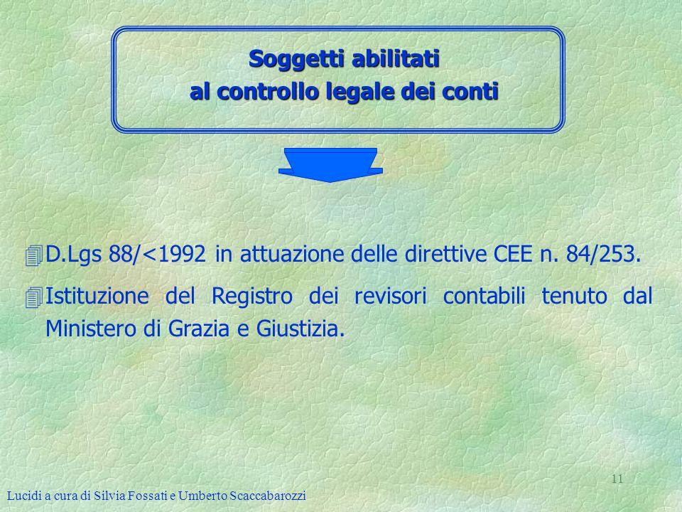 Lucidi a cura di Silvia Fossati e Umberto Scaccabarozzi 11 Soggetti abilitati al controllo legale dei conti 4D.Lgs 88/<1992 in attuazione delle dirett