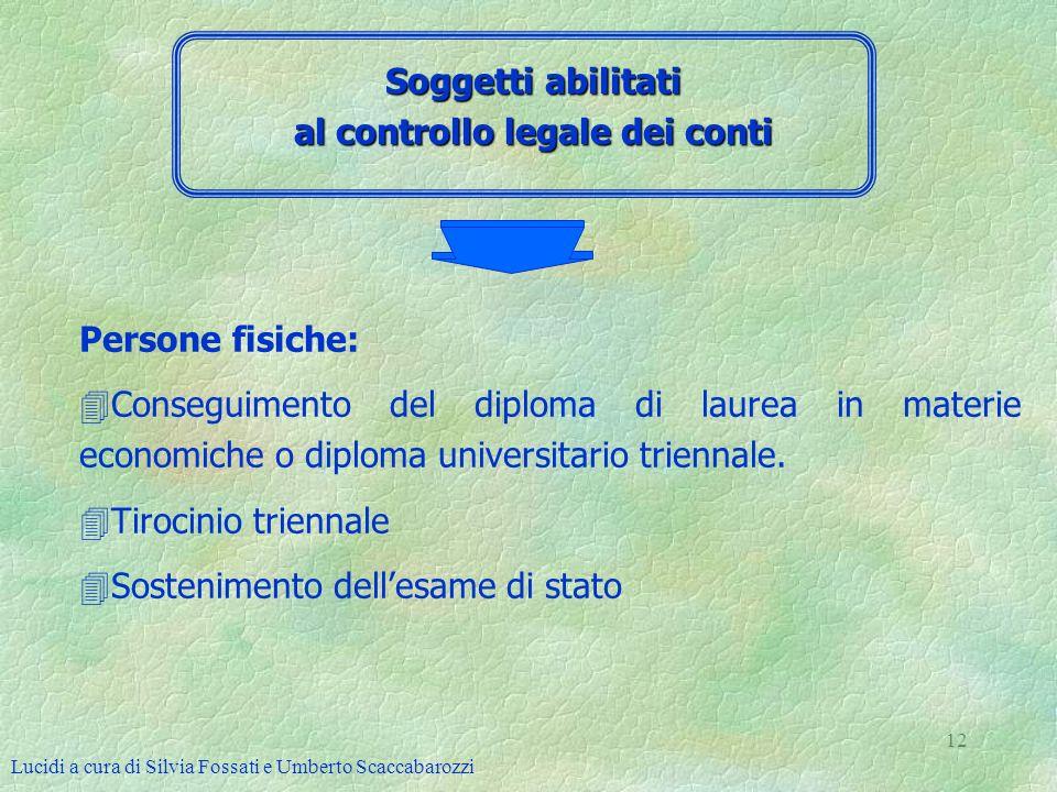 Lucidi a cura di Silvia Fossati e Umberto Scaccabarozzi 12 Soggetti abilitati al controllo legale dei conti Persone fisiche: 4Conseguimento del diplom