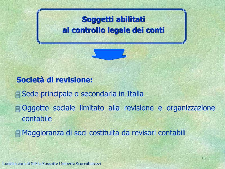Lucidi a cura di Silvia Fossati e Umberto Scaccabarozzi 13 Soggetti abilitati al controllo legale dei conti Società di revisione: 4Sede principale o s