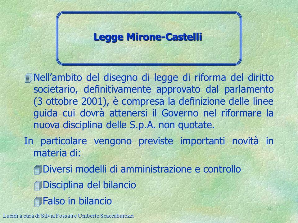 Lucidi a cura di Silvia Fossati e Umberto Scaccabarozzi 20 4Nellambito del disegno di legge di riforma del diritto societario, definitivamente approva