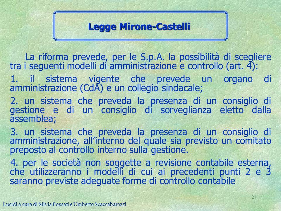 Lucidi a cura di Silvia Fossati e Umberto Scaccabarozzi 21 La riforma prevede, per le S.p.A. la possibilità di scegliere tra i seguenti modelli di amm