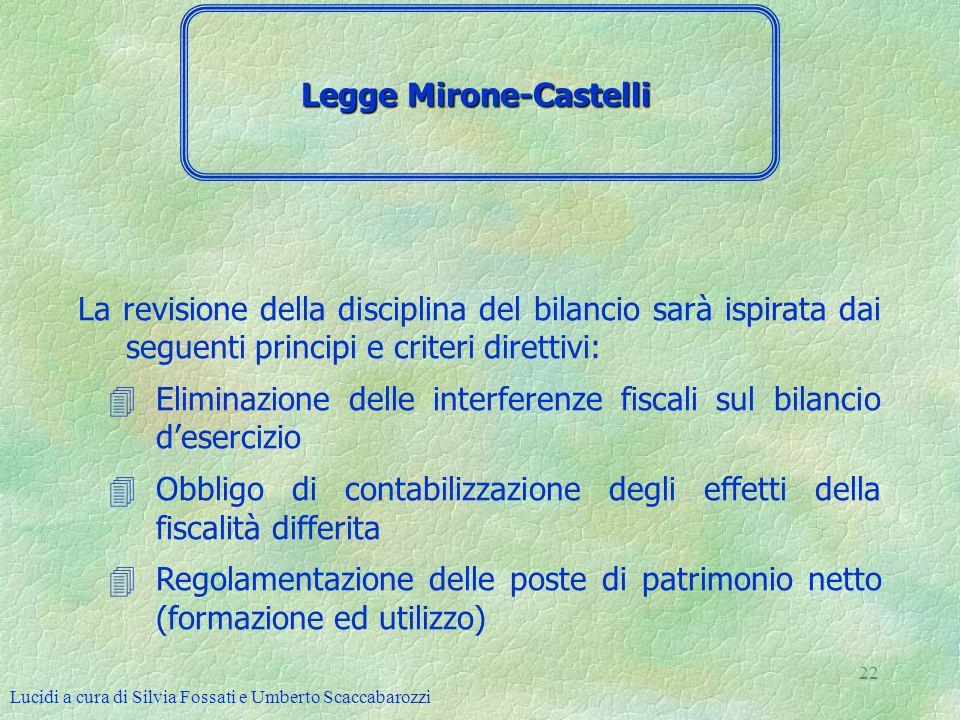 Lucidi a cura di Silvia Fossati e Umberto Scaccabarozzi 22 La revisione della disciplina del bilancio sarà ispirata dai seguenti principi e criteri di