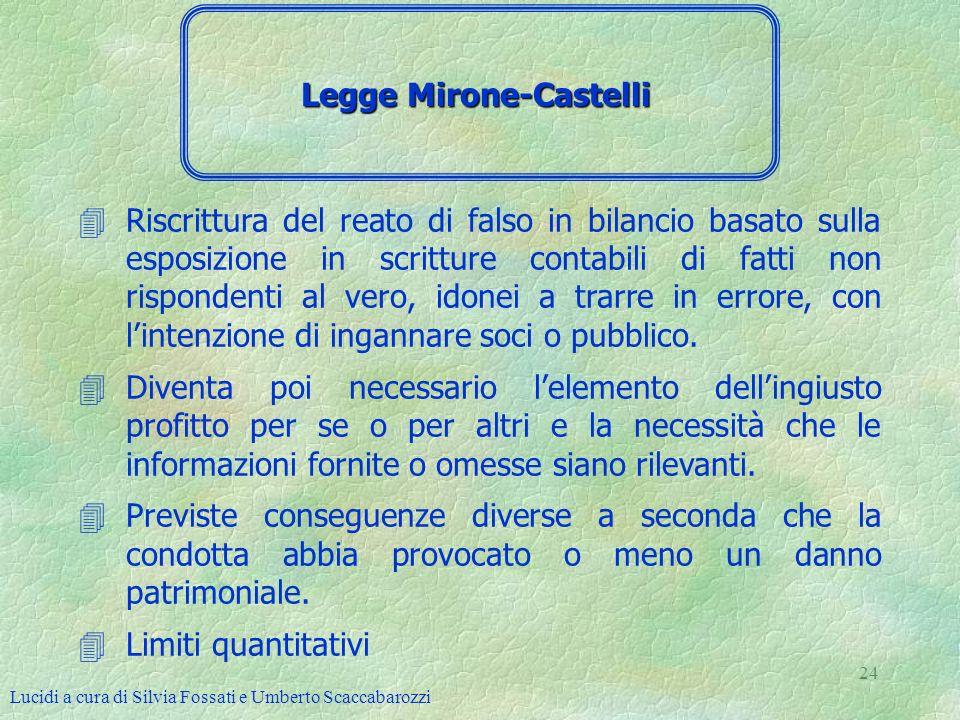 Lucidi a cura di Silvia Fossati e Umberto Scaccabarozzi 24 4Riscrittura del reato di falso in bilancio basato sulla esposizione in scritture contabili